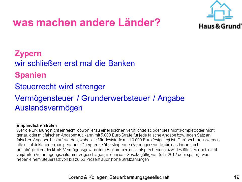 Lorenz & Kollegen, Steuerberatungsgesellschaft19 was machen andere Länder? Zypern wir schließen erst mal die Banken Spanien Steuerrecht wird strenger