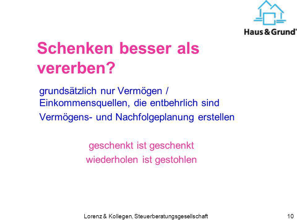 Lorenz & Kollegen, Steuerberatungsgesellschaft10 Schenken besser als vererben.