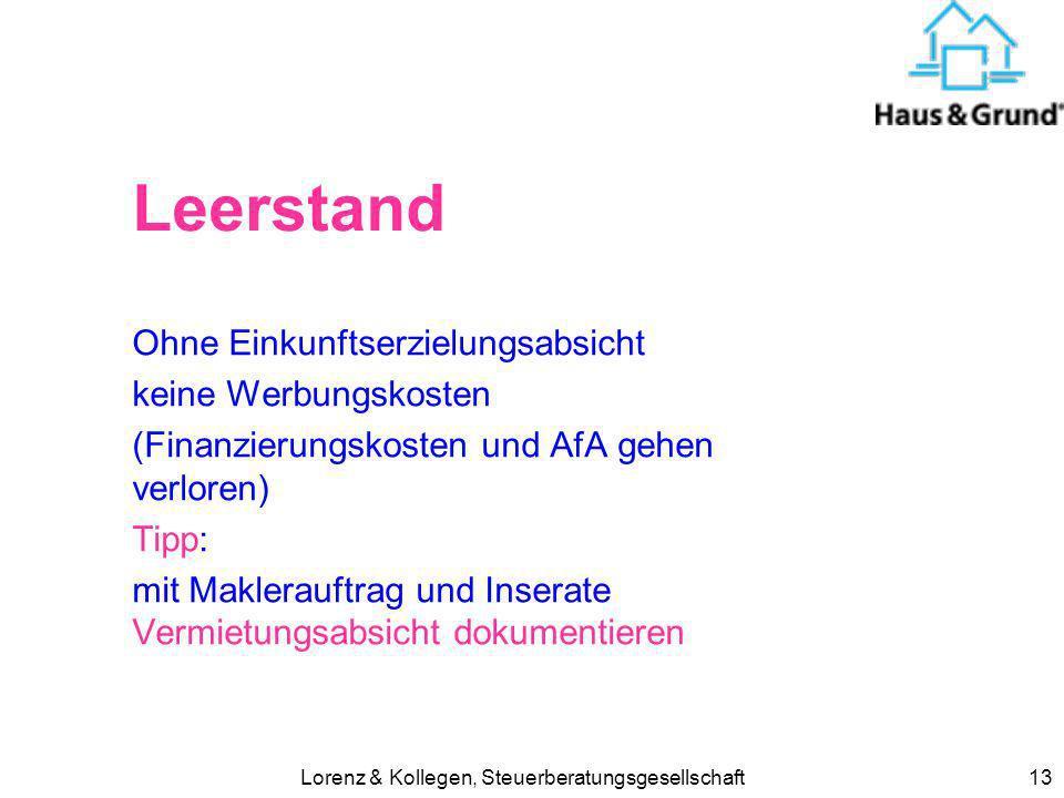 Lorenz & Kollegen, Steuerberatungsgesellschaft13 Leerstand Ohne Einkunftserzielungsabsicht keine Werbungskosten (Finanzierungskosten und AfA gehen ver