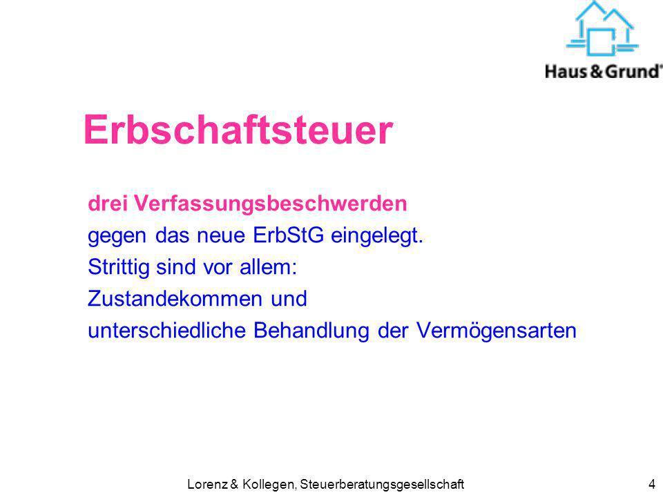 Lorenz & Kollegen, Steuerberatungsgesellschaft4 Erbschaftsteuer drei Verfassungsbeschwerden gegen das neue ErbStG eingelegt. Strittig sind vor allem: