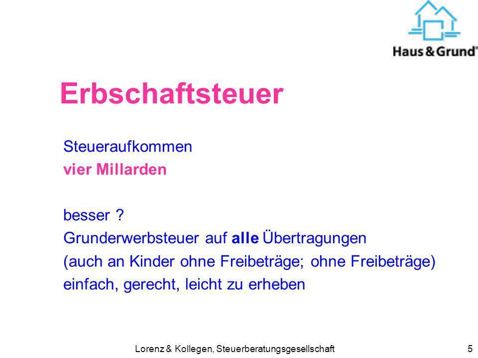 Lorenz & Kollegen, Steuerberatungsgesellschaft5 Erbschaftsteuer Steueraufkommen vier Millarden besser ? Grunderwerbsteuer auf alle Übertragungen (auch