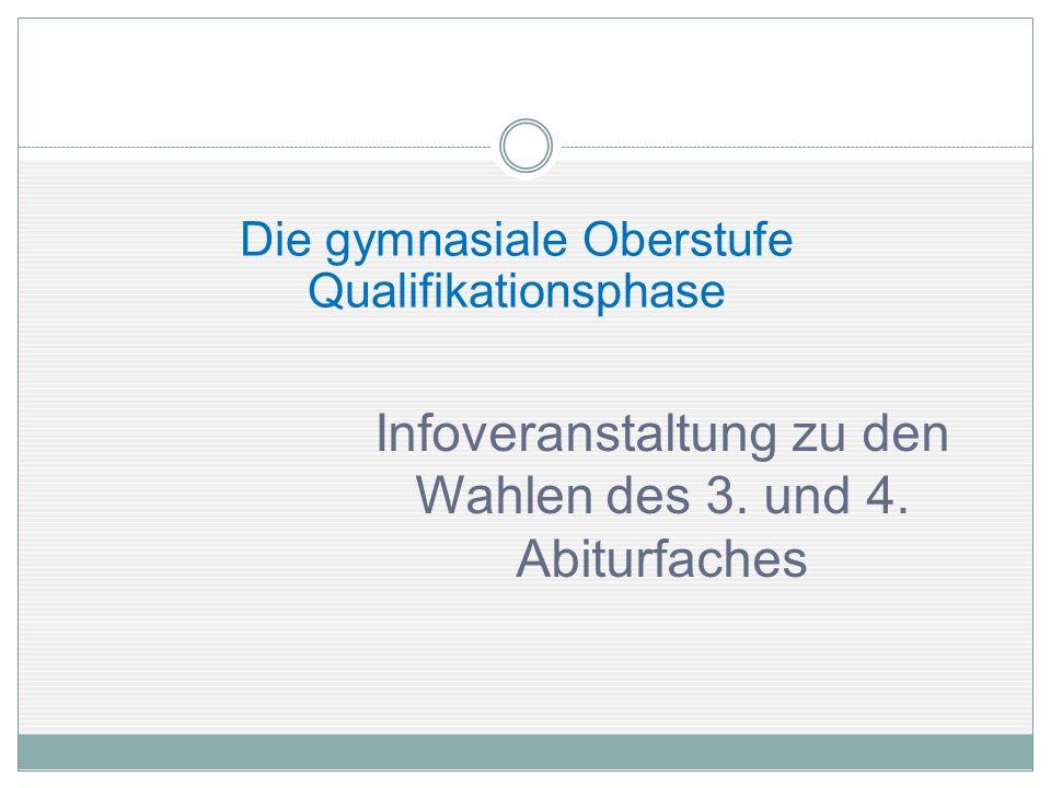 Die gymnasiale Oberstufe Qualifikationsphase Infoveranstaltung zu den Wahlen des 3. und 4. Abiturfaches