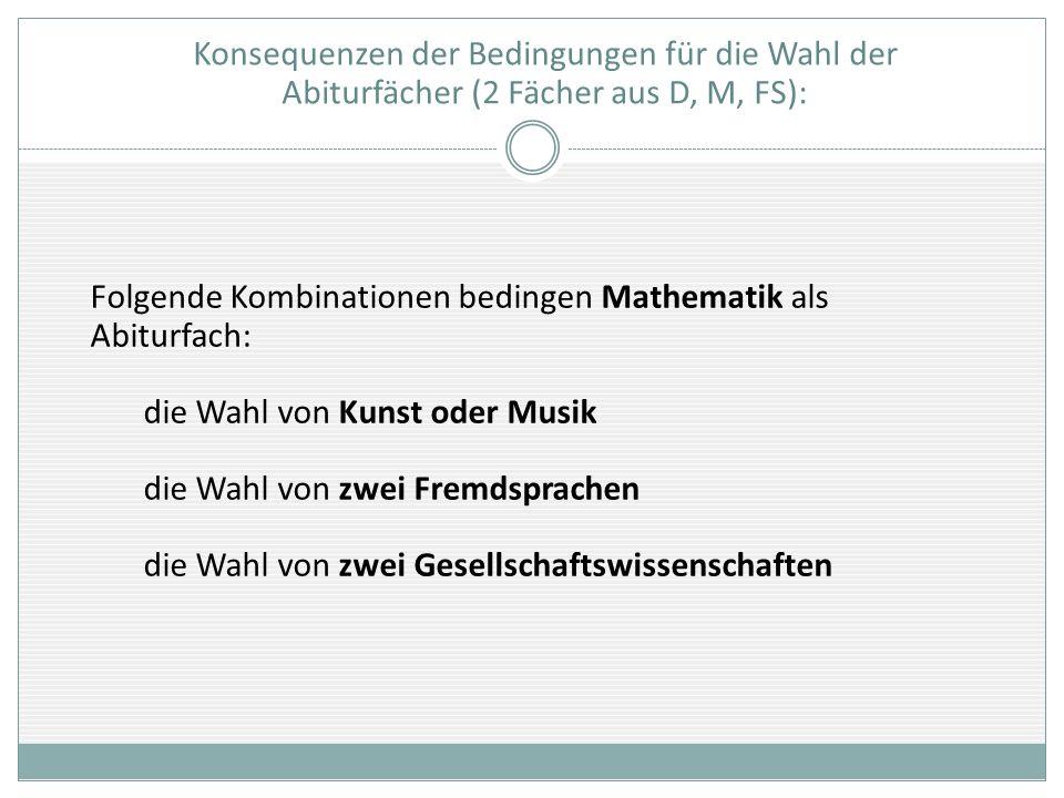 Konsequenzen der Bedingungen für die Wahl der Abiturfächer (2 Fächer aus D, M, FS): Folgende Kombinationen bedingen Mathematik als Abiturfach: die Wah