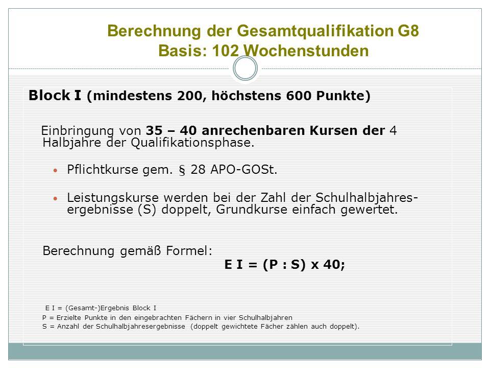 Berechnung der Gesamtqualifikation G8 Basis: 102 Wochenstunden Block I (mindestens 200, höchstens 600 Punkte) Einbringung von 35 – 40 anrechenbaren Ku