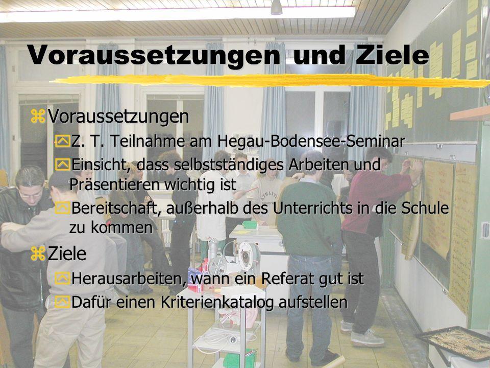 Voraussetzungen und Ziele zVoraussetzungen yZ. T.