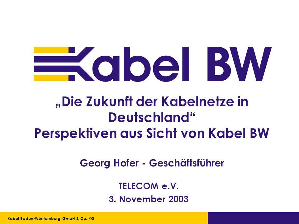 Kabel Baden-Württemberg GmbH Kabel Baden-Württemberg GmbH & Co. KG Die Zukunft der Kabelnetze in Deutschland Perspektiven aus Sicht von Kabel BW Georg