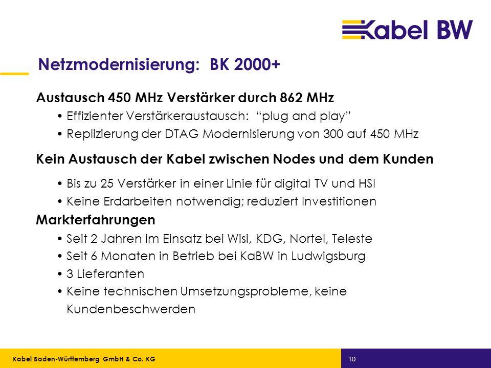 Kabel Baden-Württemberg GmbH Kabel Baden-Württemberg GmbH & Co. KG 10 Netzmodernisierung: BK 2000+ Austausch 450 MHz Verstärker durch 862 MHz Effizien