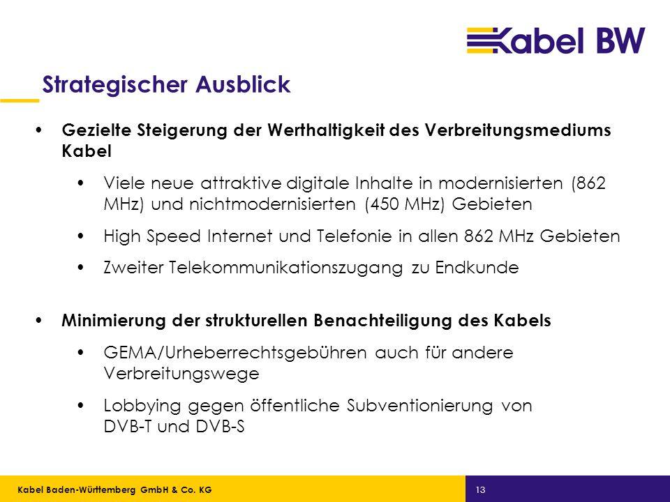 Kabel Baden-Württemberg GmbH Kabel Baden-Württemberg GmbH & Co. KG 13 Strategischer Ausblick Gezielte Steigerung der Werthaltigkeit des Verbreitungsme