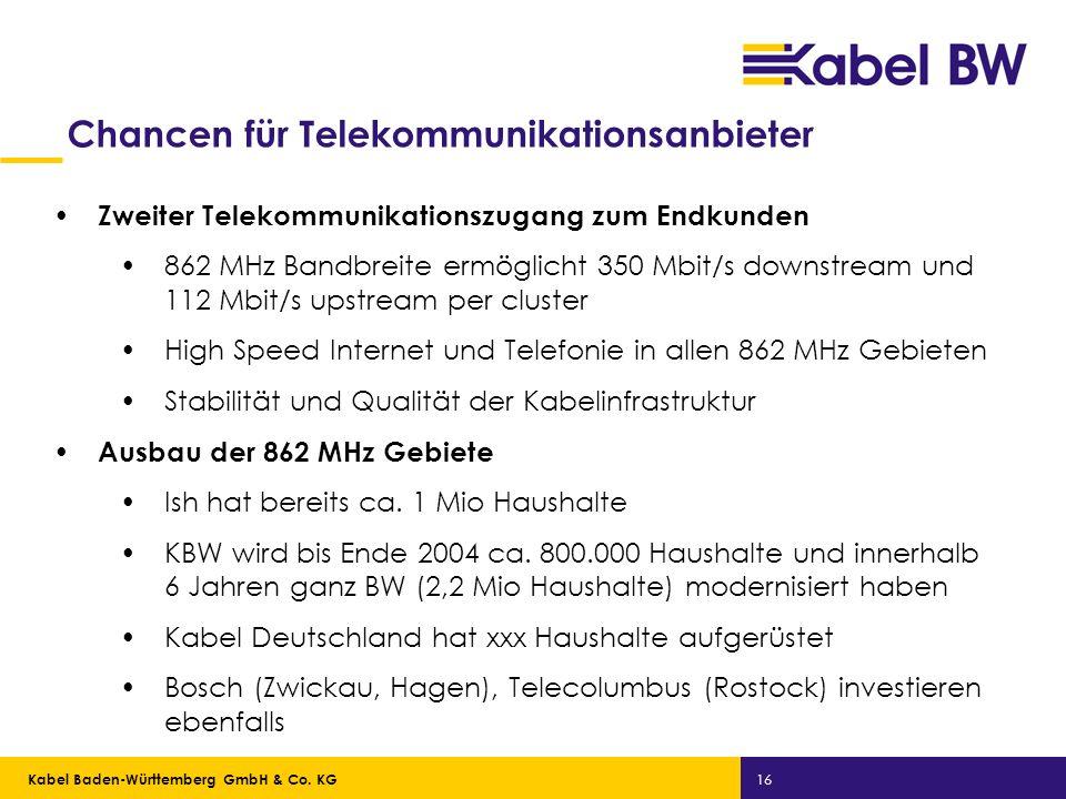 Kabel Baden-Württemberg GmbH Kabel Baden-Württemberg GmbH & Co. KG 16 Chancen für Telekommunikationsanbieter Zweiter Telekommunikationszugang zum Endk
