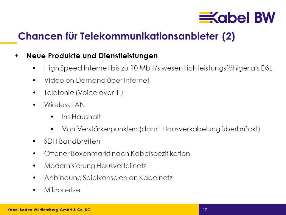 Kabel Baden-Württemberg GmbH Kabel Baden-Württemberg GmbH & Co. KG 17 Chancen für Telekommunikationsanbieter (2) Neue Produkte und Dienstleistungen Hi
