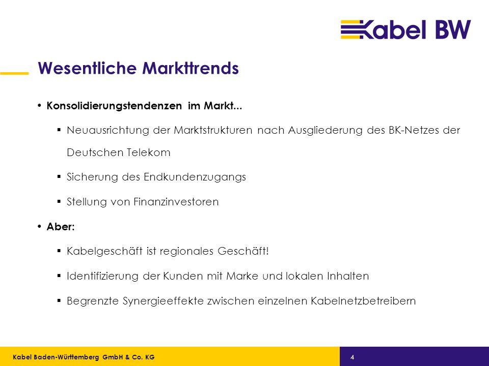 Kabel Baden-Württemberg GmbH Kabel Baden-Württemberg GmbH & Co. KG 4 Wesentliche Markttrends Konsolidierungstendenzen im Markt... Neuausrichtung der M