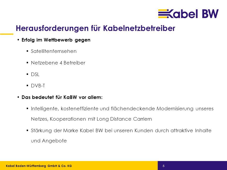 Kabel Baden-Württemberg GmbH Kabel Baden-Württemberg GmbH & Co. KG 5 Herausforderungen für Kabelnetzbetreiber Erfolg im Wettbewerb gegen Satellitenfer