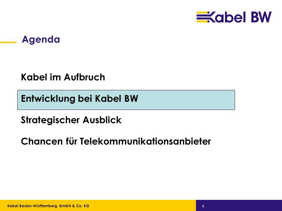 Kabel Baden-Württemberg GmbH Kabel Baden-Württemberg GmbH & Co. KG 6 Agenda Kabel im Aufbruch Entwicklung bei Kabel BW Strategischer Ausblick Chancen