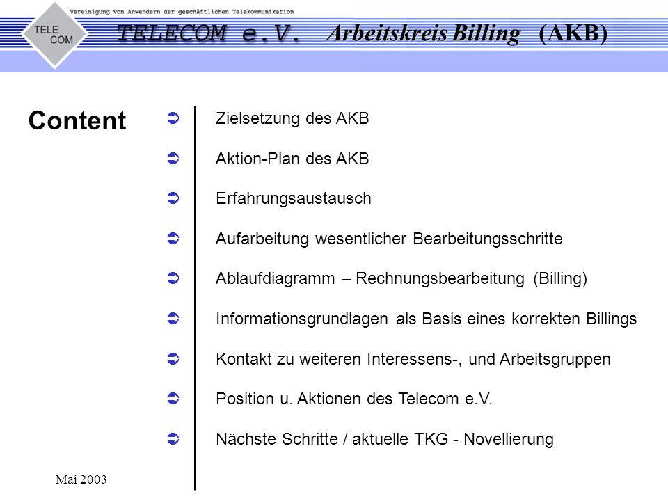 Arbeitskreis Billing Arbeitskreis Billing (AKB) Mai 2003 Content Zielsetzung des AKB Aktion-Plan des AKB Erfahrungsaustausch Aufarbeitung wesentlicher