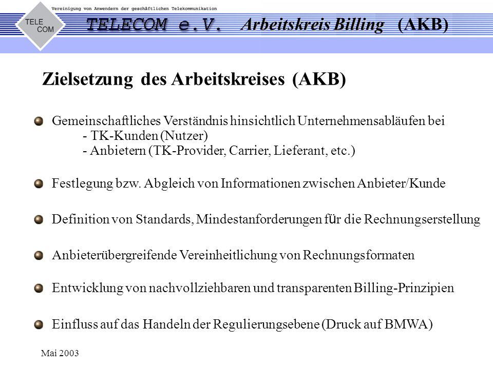 Arbeitskreis Billing Arbeitskreis Billing (AKB) Mai 2003 Gemeinschaftliches Verständnis hinsichtlich Unternehmensabläufen bei - TK-Kunden (Nutzer) - A