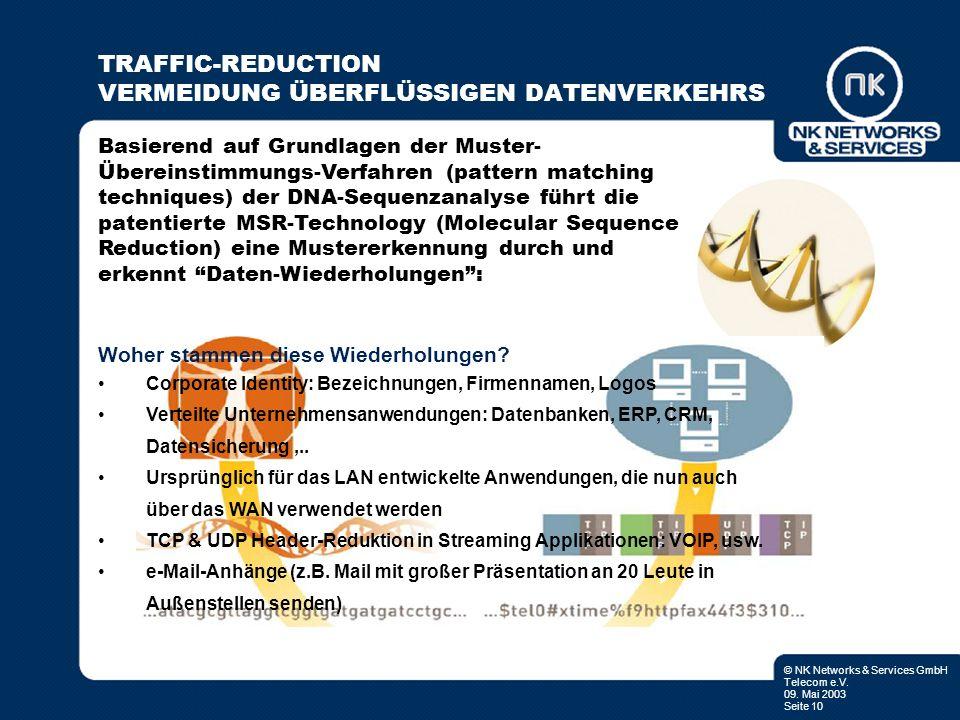 © NK Networks & Services GmbH Telecom e.V. 09. Mai 2003 Seite 10 TRAFFIC-REDUCTION VERMEIDUNG ÜBERFLÜSSIGEN DATENVERKEHRS Basierend auf Grundlagen der