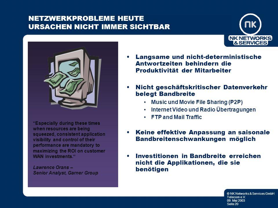 © NK Networks & Services GmbH Telecom e.V. 09. Mai 2003 Seite 20 Langsame und nicht-deterministische Antwortzeiten behindern die Produktivität der Mit