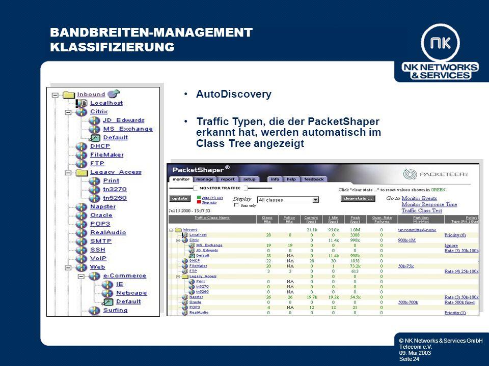 © NK Networks & Services GmbH Telecom e.V. 09. Mai 2003 Seite 24 AutoDiscovery Traffic Typen, die der PacketShaper erkannt hat, werden automatisch im