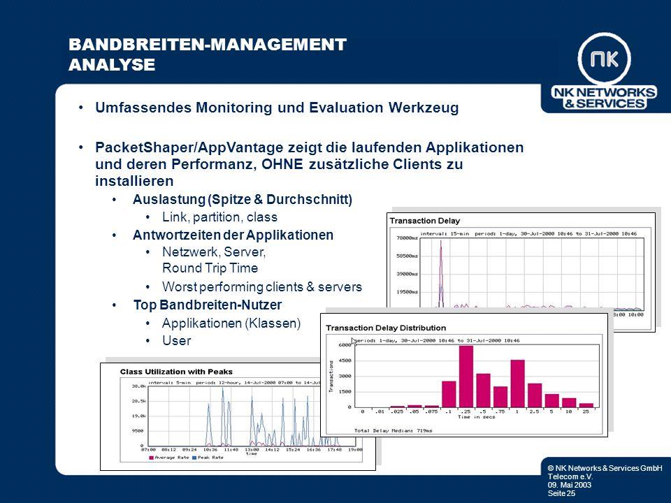 © NK Networks & Services GmbH Telecom e.V. 09. Mai 2003 Seite 25 Umfassendes Monitoring und Evaluation Werkzeug PacketShaper/AppVantage zeigt die lauf