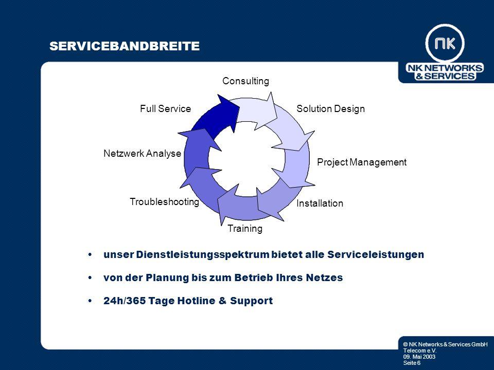 © NK Networks & Services GmbH Telecom e.V. 09. Mai 2003 Seite 6 SERVICEBANDBREITE unser Dienstleistungsspektrum bietet alle Serviceleistungen von der