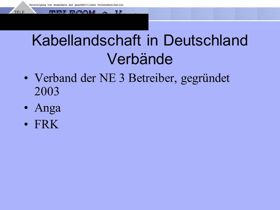 Kabellandschaft in Deutschland Verbände Verband der NE 3 Betreiber, gegründet 2003 Anga FRK