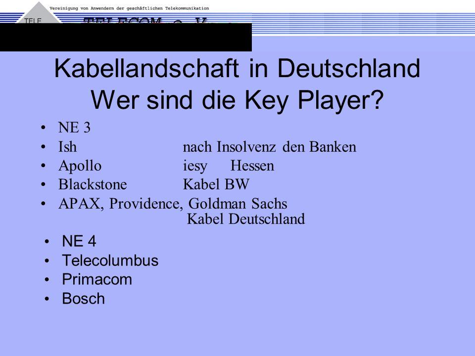 Kabellandschaft in Deutschland Wer sind die Key Player? NE 3 Ishnach Insolvenz den Banken Apollo iesy Hessen Blackstone Kabel BW APAX, Providence, Gol