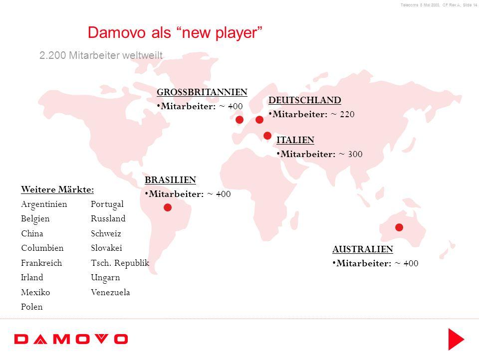 Telecoms 8 Mai 2003, CF Rev.A, Slide 14 Damovo als new player BRASILIEN Mitarbeiter: ~ 400 DEUTSCHLAND Mitarbeiter: ~ 220 GROSSBRITANNIEN Mitarbeiter: