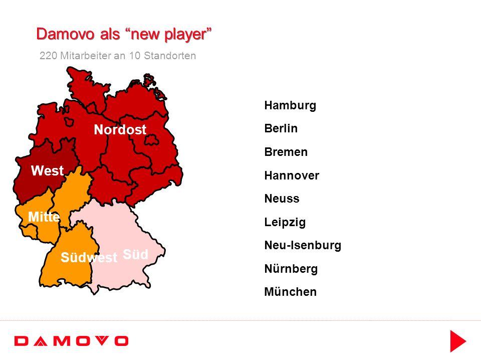 Damovo als new player Süd Südwest Mitte West Nordost Neuss Hannover Neu-Isenburg Leipzig Hamburg Berlin München Bremen Nürnberg 220 Mitarbeiter an 10 Standorten