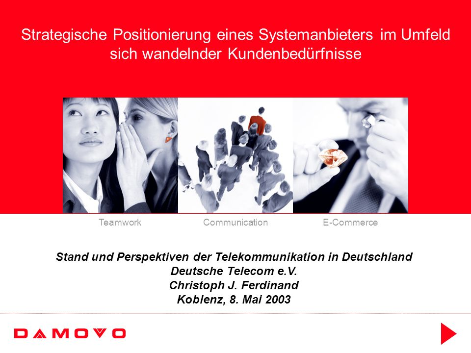 Telecoms 8 Mai 2003, CF Rev.A, Slide 13 Damovo als new player Umsatz und EBITDA-Entwicklung Notes:* Earnings Before Interest, Tax, Depreciation and Amortisation 0 500 1000 1500 2000 20012002200320042005 m 0 50 100 150 200 20012002200320042005 m UMSATZEBITDA