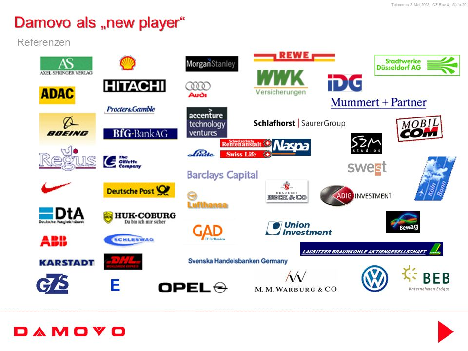 Telecoms 8 Mai 2003, CF Rev.A, Slide 20 Damovo als new player E Referenzen