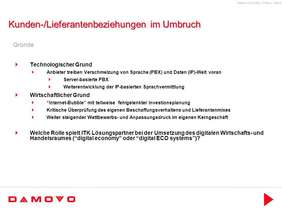 Telecoms 8 Mai 2003, CF Rev.A, Slide 16 Damovo als new player Damovo Service- und Lösungsportfolio