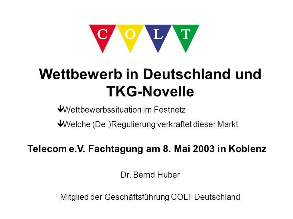 Wettbewerb in Deutschland und TKG-Novelle ê Wettbewerbssituation im Festnetz ê Welche (De-)Regulierung verkraftet dieser Markt Telecom e.V. Fachtagung