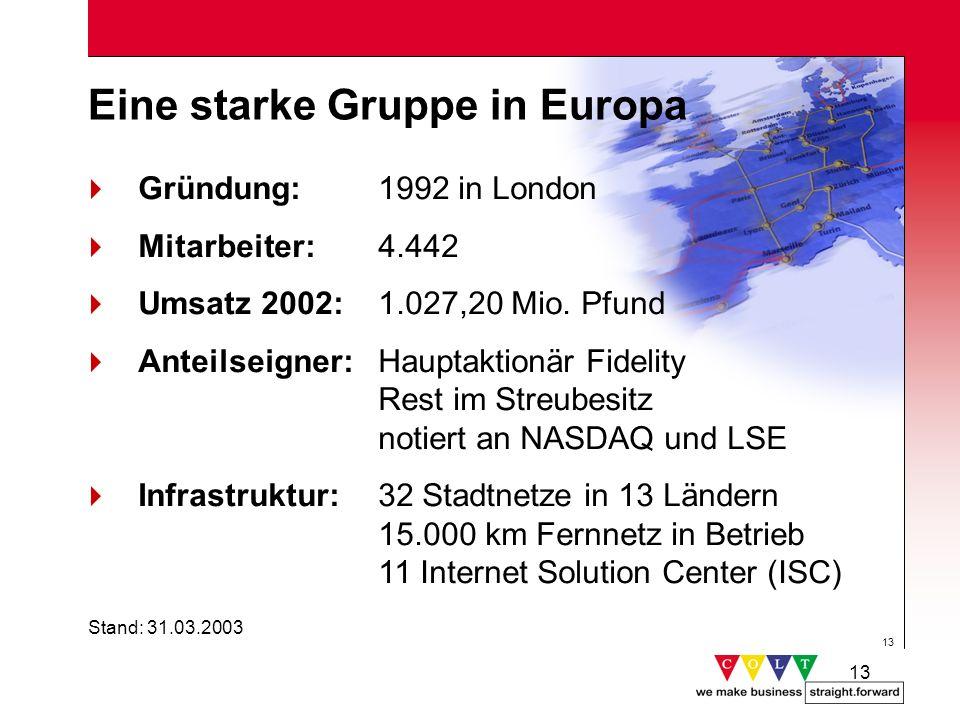 13 Eine starke Gruppe in Europa Gründung: 1992 in London Mitarbeiter: 4.442 Umsatz 2002: 1.027,20 Mio. Pfund Anteilseigner: Hauptaktionär Fidelity Res