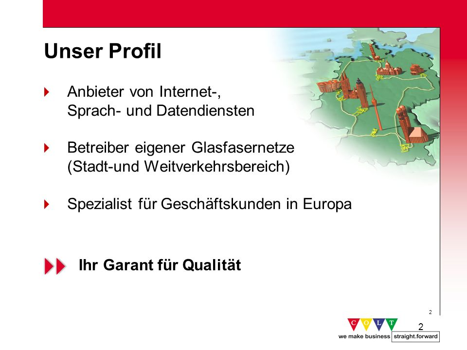 2 2 Unser Profil Anbieter von Internet-, Sprach- und Datendiensten Betreiber eigener Glasfasernetze (Stadt-und Weitverkehrsbereich) Spezialist für Ges