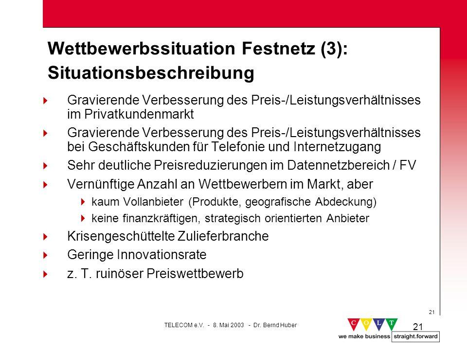 21 Wettbewerbssituation Festnetz (3): Situationsbeschreibung Gravierende Verbesserung des Preis-/Leistungsverhältnisses im Privatkundenmarkt Gravieren