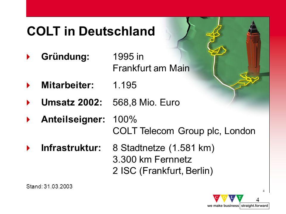 4 4 COLT in Deutschland Gründung: 1995 in Frankfurt am Main Mitarbeiter: 1.195 Umsatz 2002: 568,8 Mio. Euro Anteilseigner: 100% COLT Telecom Group plc