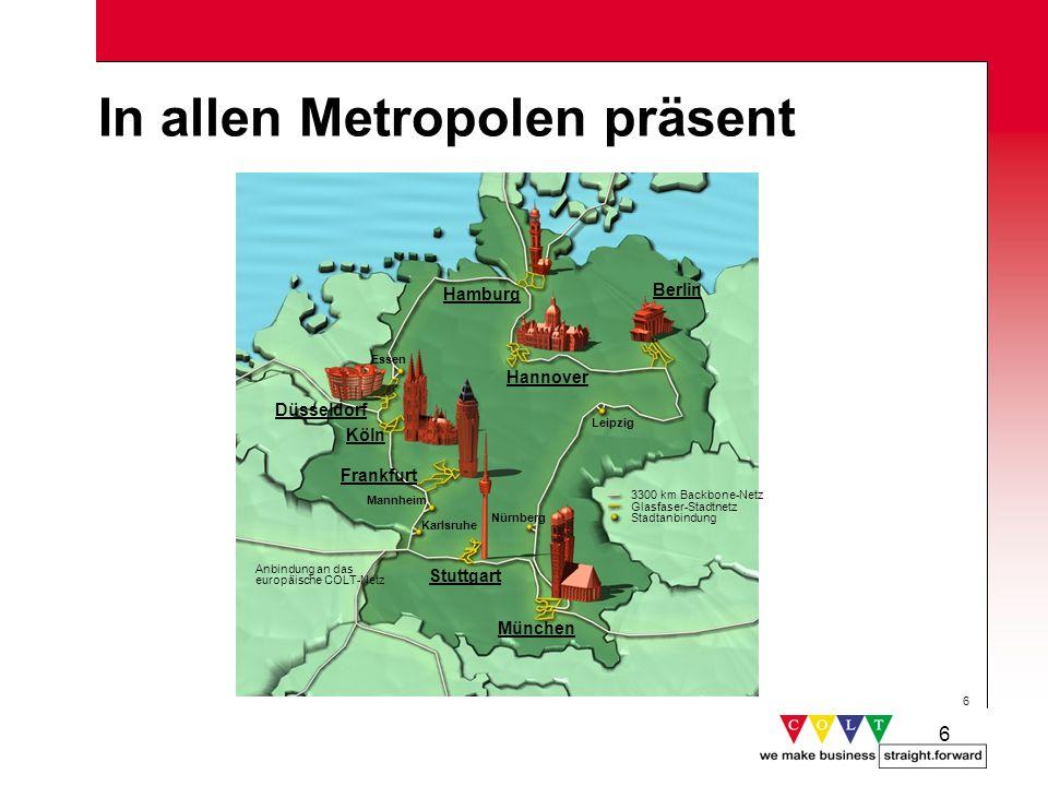 6 6 In allen Metropolen präsent Frankfurt Düsseldorf Hannover Stuttgart Köln Berlin Hamburg Anbindung an das europäische COLT-Netz 3300 km Backbone-Ne