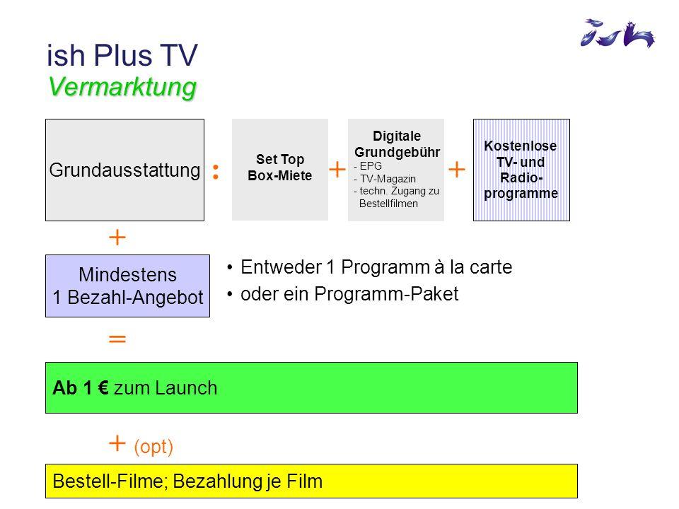 Vermarktung ish Plus TV Vermarktung Kostenlose TV- und Radio- programme Set Top Box-Miete Digitale Grundgebühr - EPG - TV-Magazin - techn.