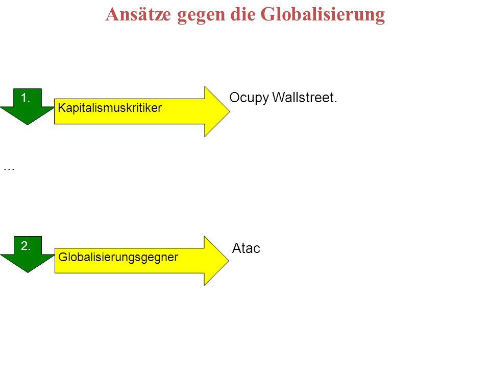 Ansätze gegen die Globalisierung 1. 2. 1. Globalisierungsgegner Kapitalismuskritiker Ocupy Wallstreet. Atac...