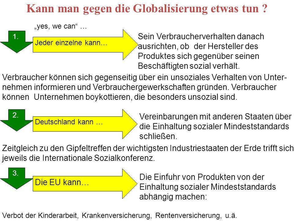 Kann man gegen die Globalisierung etwas tun ? 1. 2. 3. 1. Deutschland kann … Jeder einzelne kann… Die EU kann… Sein Verbraucherverhalten danach ausric