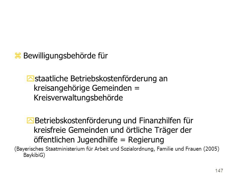 147 5. Bewillungsbehörden (Art. 28) zBewilligungsbehörde für ystaatliche Betriebskostenförderung an kreisangehörige Gemeinden = Kreisverwaltungsbehörd
