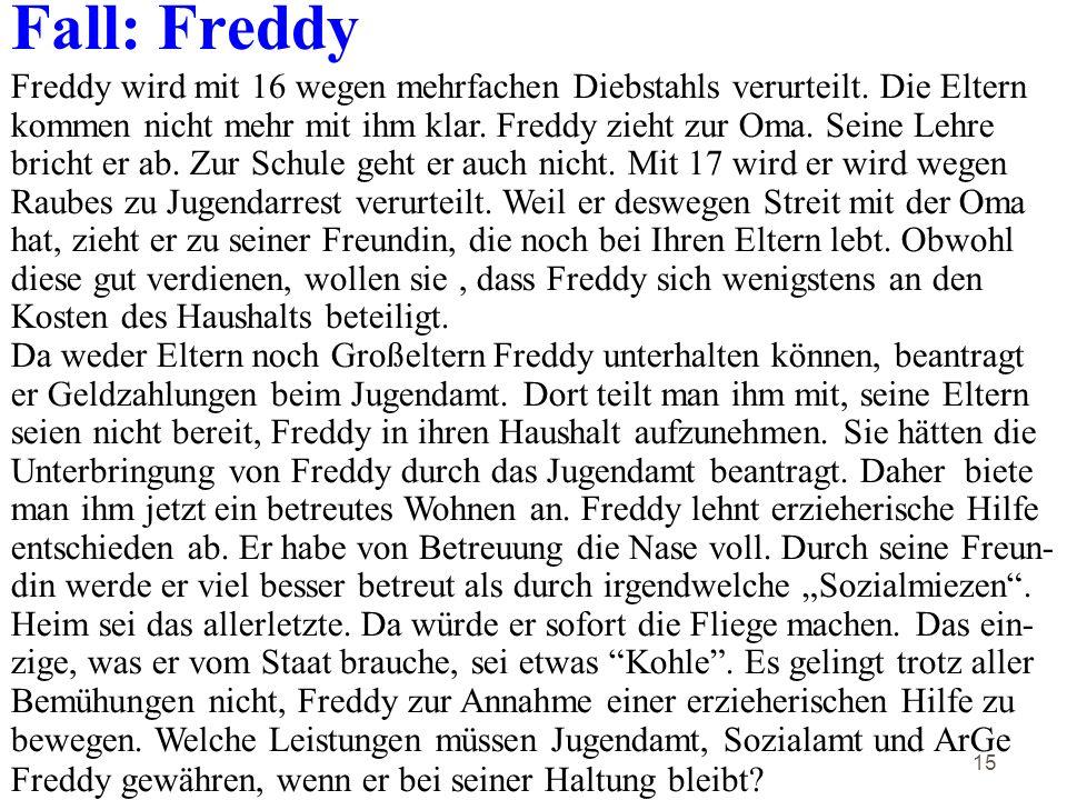15 Fall: Freddy Freddy wird mit 16 wegen mehrfachen Diebstahls verurteilt.