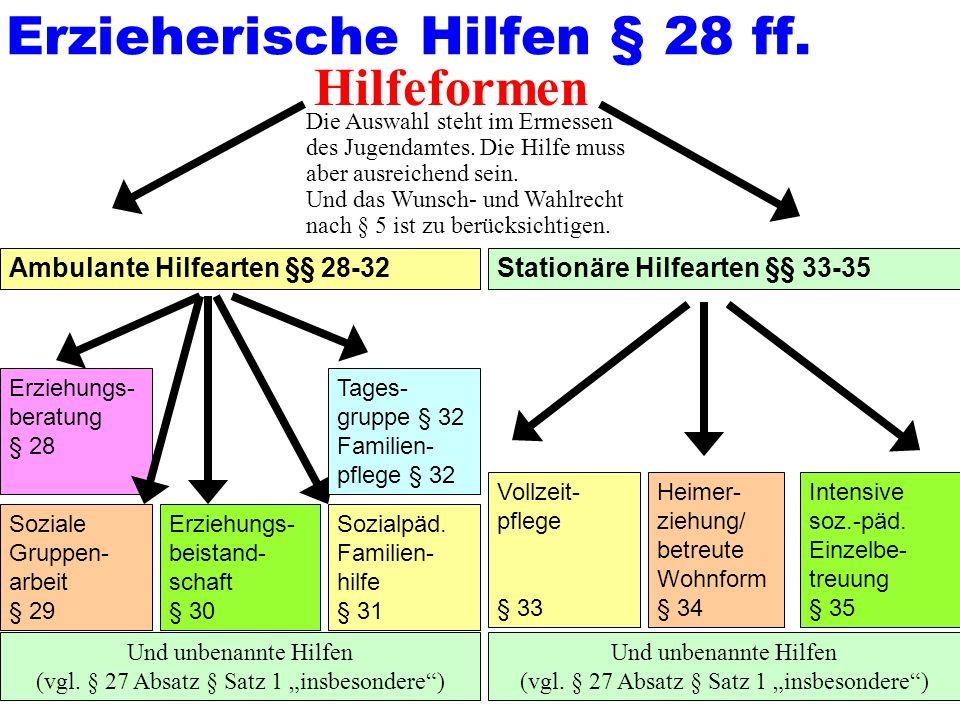52 Ambulante Hilfearten §§ 28-32Stationäre Hilfearten §§ 33-35 Erzieherische Hilfen § 28 ff.