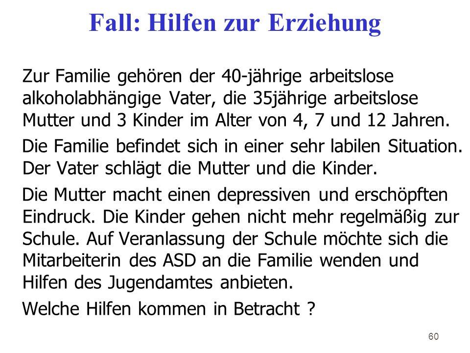60 Fall: Hilfen zur Erziehung Zur Familie gehören der 40-jährige arbeitslose alkoholabhängige Vater, die 35jährige arbeitslose Mutter und 3 Kinder im Alter von 4, 7 und 12 Jahren.