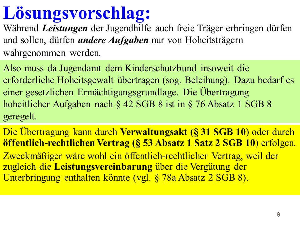 30 Fortsetzung der Lösung Gerichtlich und außergerichtlich darf das Jugendamt für F nicht zur Geltendmachung ihres eigenen Unterhaltsanspruchs tätig werden.