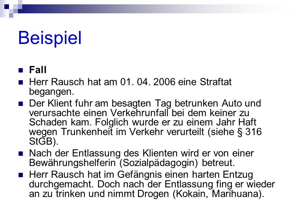 Beispiel Fall Herr Rausch hat am 01. 04. 2006 eine Straftat begangen. Der Klient fuhr am besagten Tag betrunken Auto und verursachte einen Verkehrunfa