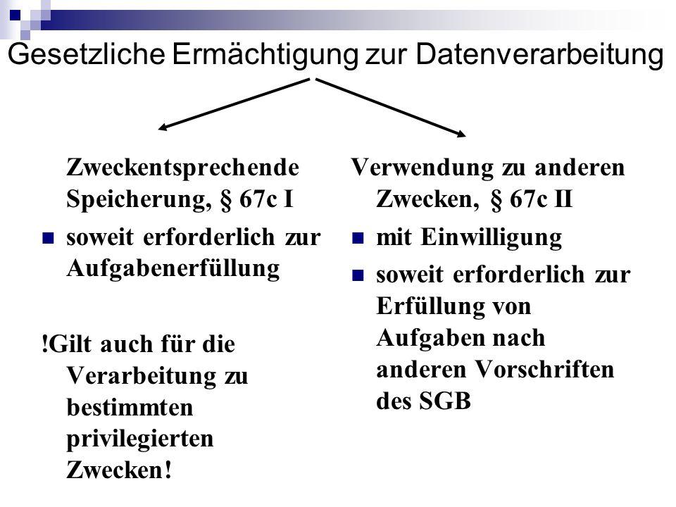 Gesetzliche Ermächtigung zur Datenverarbeitung Zweckentsprechende Speicherung, § 67c I soweit erforderlich zur Aufgabenerfüllung !Gilt auch für die Ve