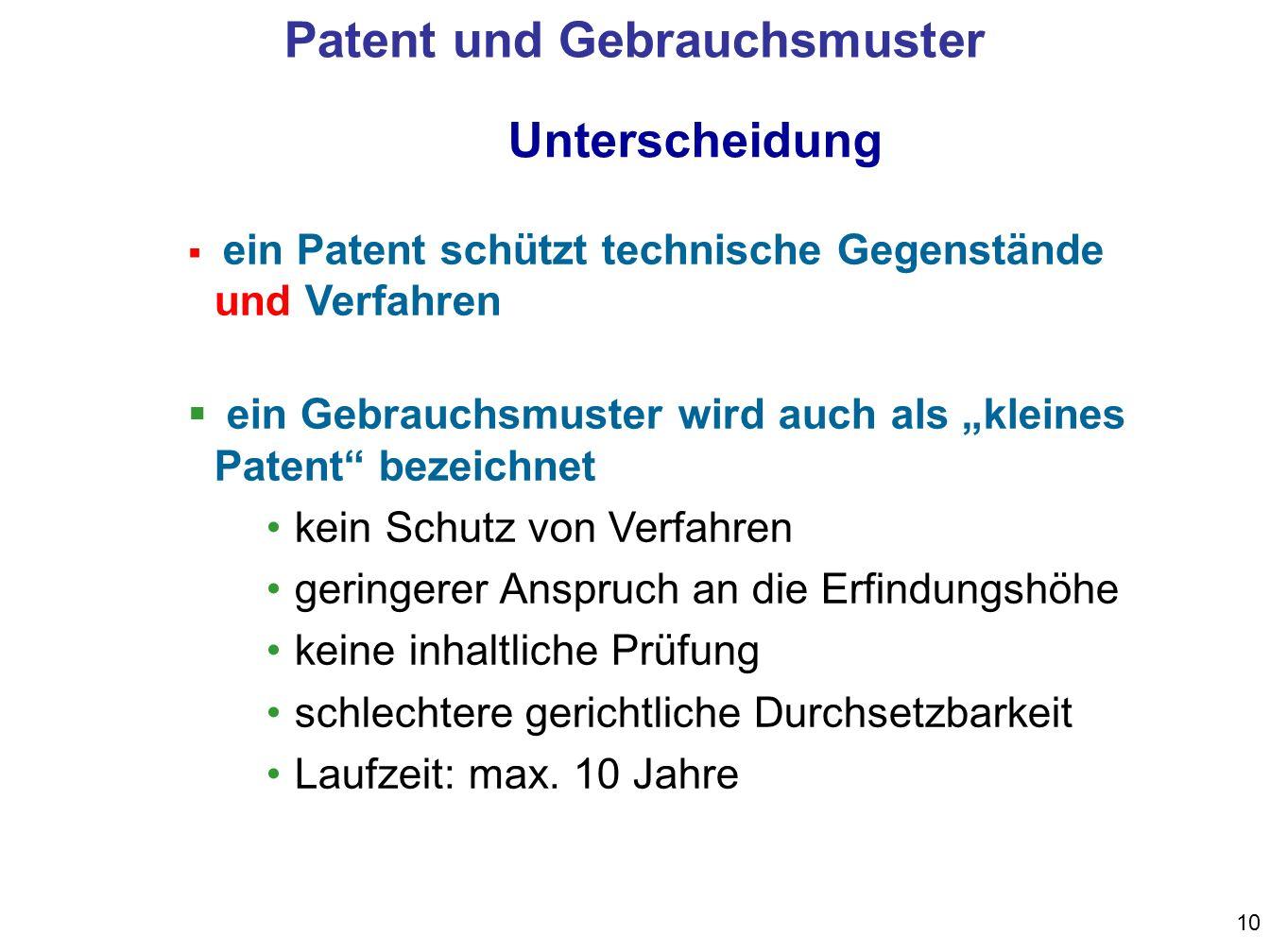 10 Unterscheidung ein Patent schützt technische Gegenstände und Verfahren ein Gebrauchsmuster wird auch als kleines Patent bezeichnet kein Schutz von Verfahren geringerer Anspruch an die Erfindungshöhe keine inhaltliche Prüfung schlechtere gerichtliche Durchsetzbarkeit Laufzeit: max.