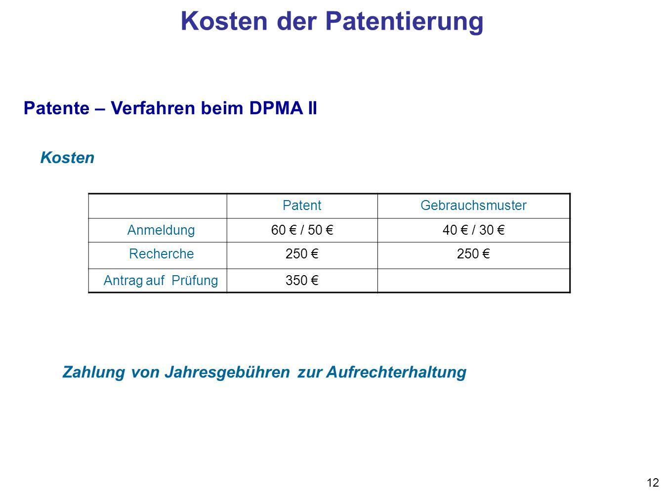 12 Zahlung von Jahresgebühren zur Aufrechterhaltung PatentGebrauchsmuster Anmeldung60 / 50 40 / 30 Recherche250 Antrag auf Prüfung350 Kosten Patente – Verfahren beim DPMA II Kosten der Patentierung
