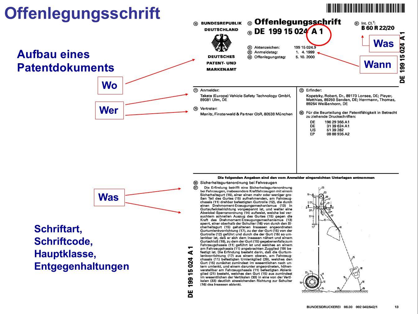 13 Wo Wer Was Wann Schriftart, Schriftcode, Hauptklasse, Entgegenhaltungen Aufbau eines Patentdokuments Was Offenlegungsschrift